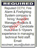 Assistant Manager Projects Job Opportunity