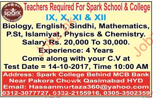 Teaching Staff Required For School & College