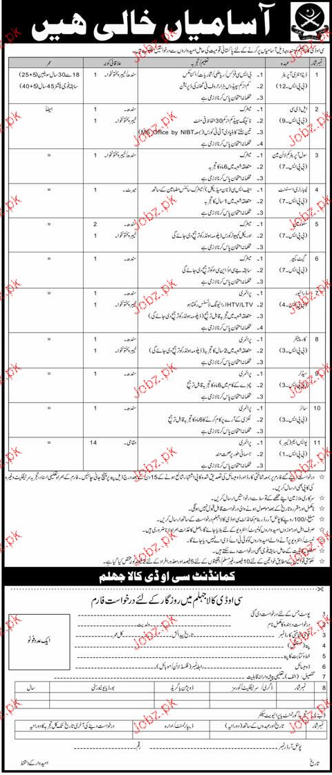 Pakistan Army COD Jhelum Jobs