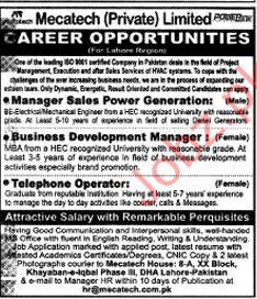 Mecatech Pvt limited require Manager Sales & Call Operator