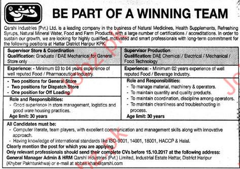 Qarshi Supervisor Store & Supervisor Production Jobs