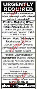 Marketing Officers, Mould / Die Designers Job Opportunity