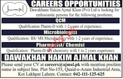 QCM, Microbiologists and Pharmacists Job Opportunity