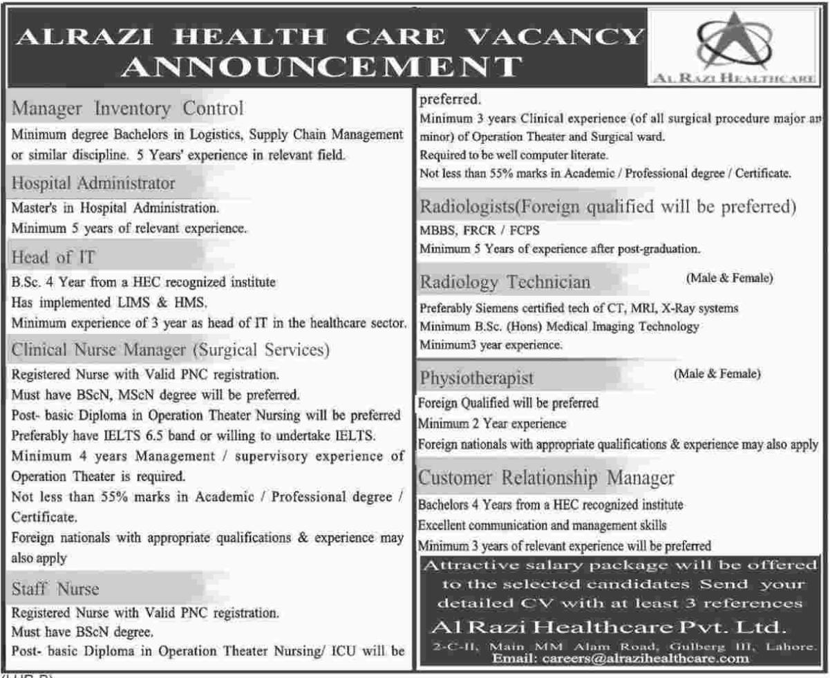 Alrazi Health Care Vacancy Announcement