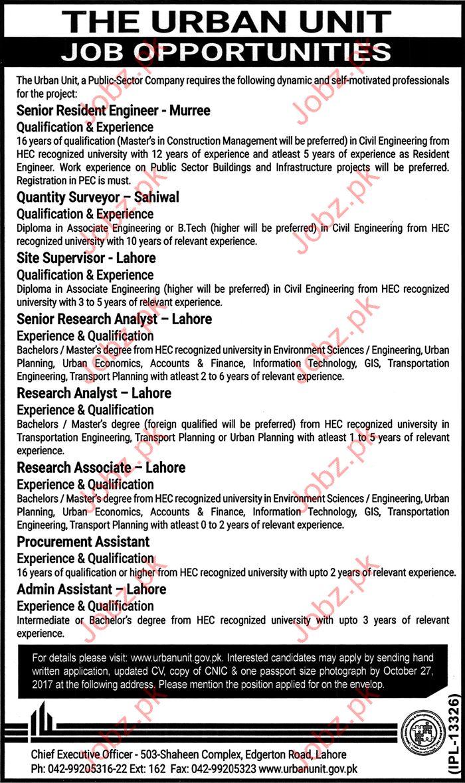Urban Unit career Opportunity Govt of Punjab