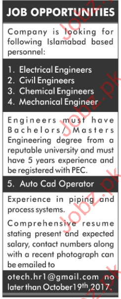 Electrical Engineer & Mechanical Engineer Jobs Opportunity