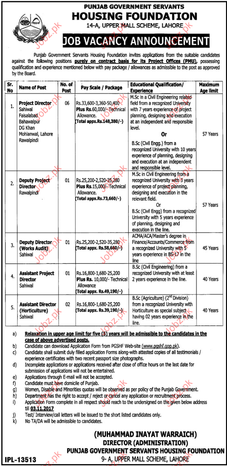 Punjab Govt Servants Housing Foundation Required Director