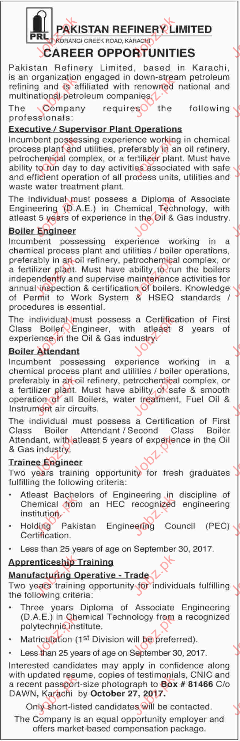 Pakistan Refinery Limited Career Opportunity PRL