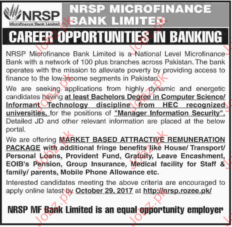 NRSP Micro Finance Bank Limited Jobs
