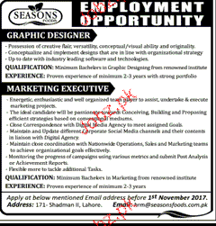 Marketing Executives and Graphic Designers Job Opportunity