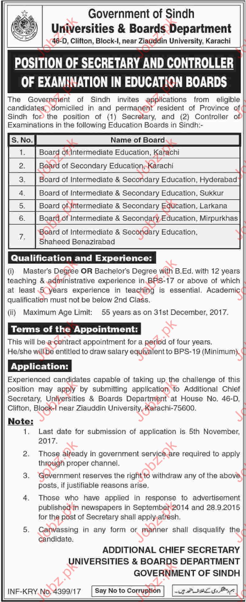 Universities & Boards Department Govt of Sindh Jobs BISE