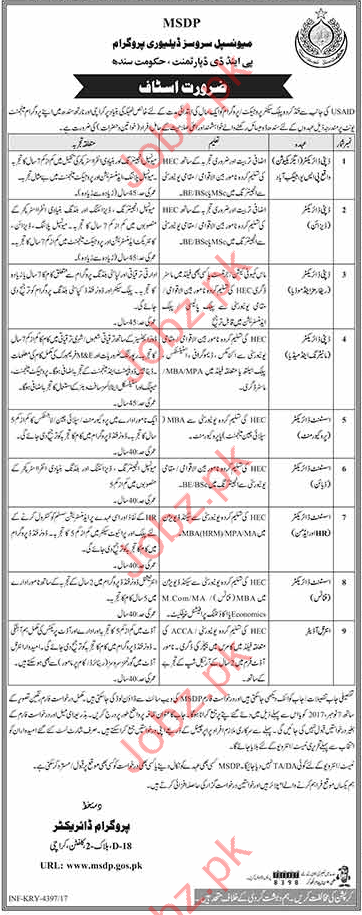 MSDP Jobs Municipal Services Delivery Program Sindh