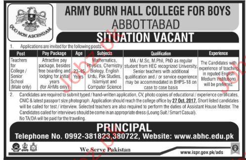 ABHC Jobs Army Burn Hall College For Boys 2017