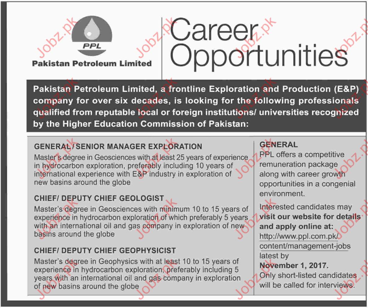 Pakistan Petroleum Limited Jobs PPL 2017
