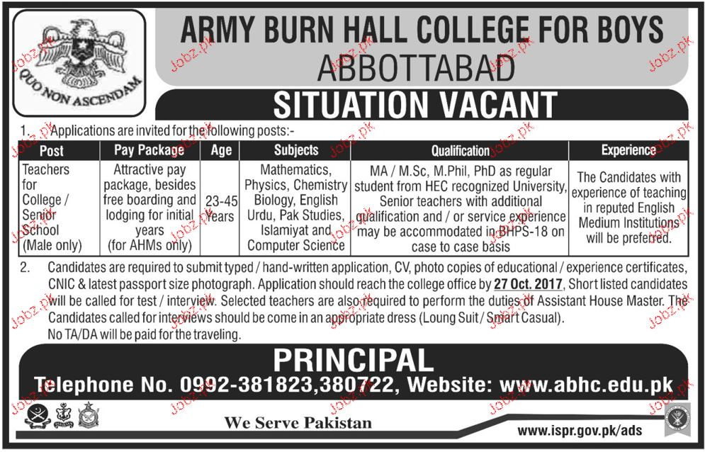 Army Burn Hall College For Girls Jobs