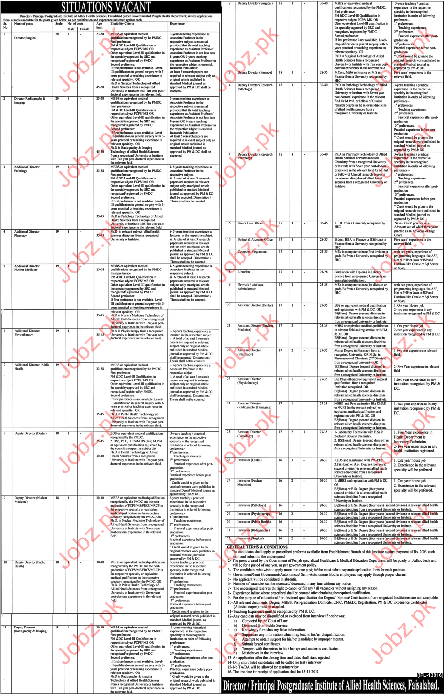 PHD Jobs Postgraduate Institute Of Allied Health Sciences