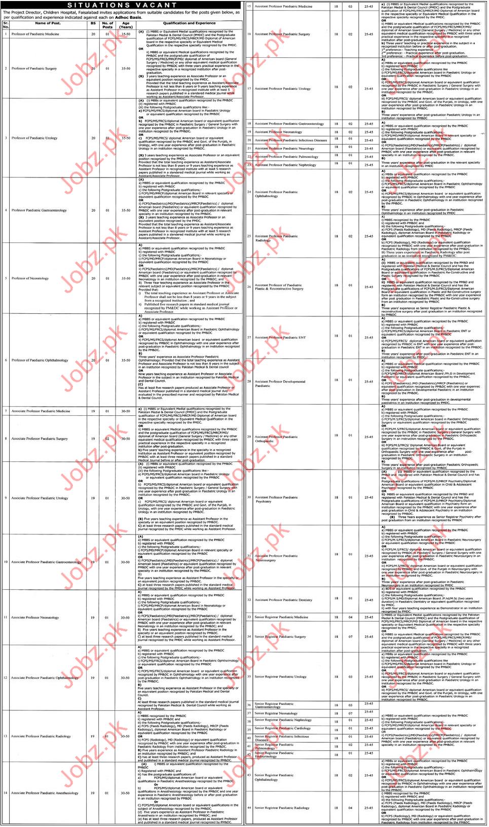 Children Hospital Jobs 2017 Faisalabad