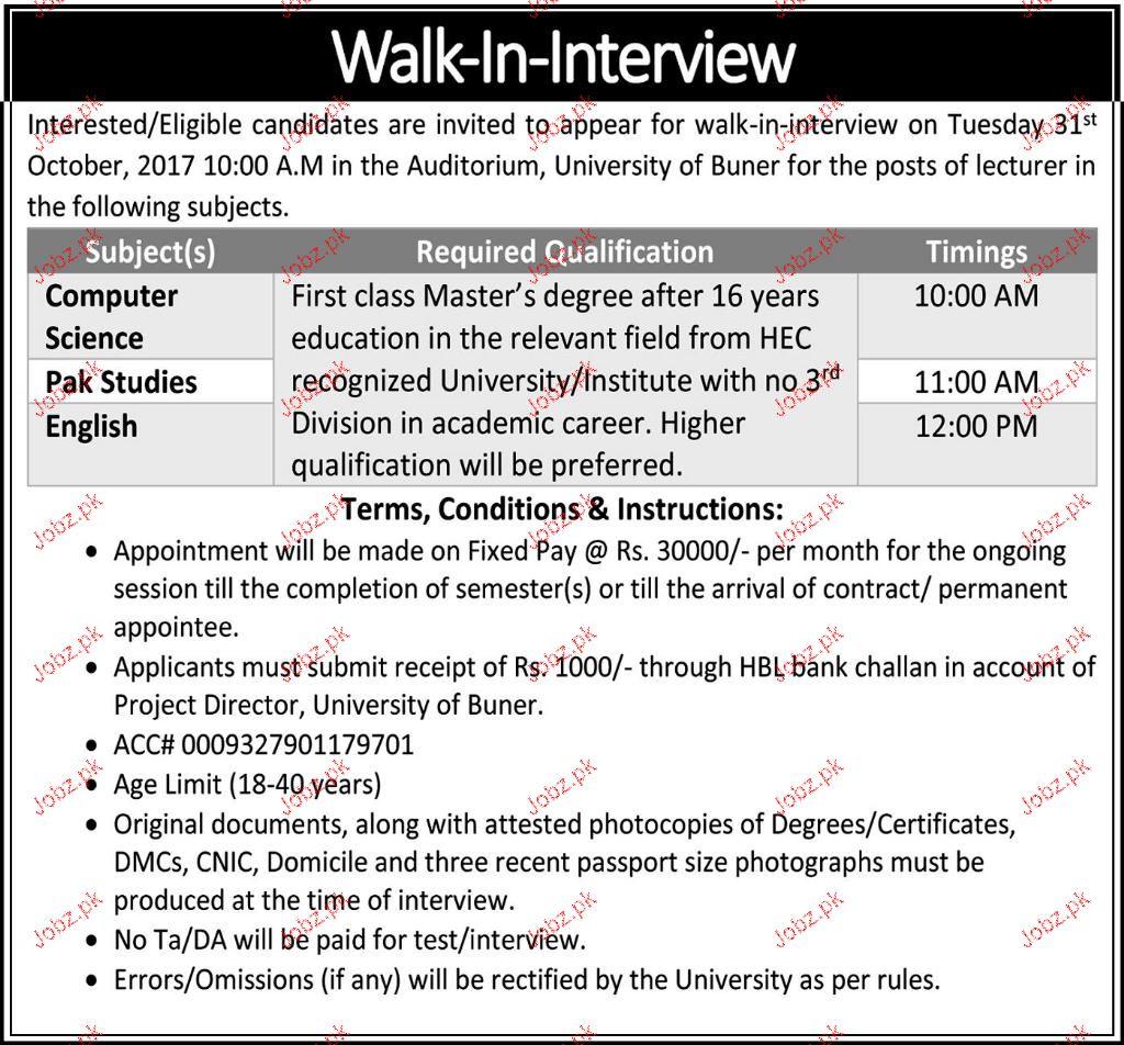 University of Buner Lecturers Job