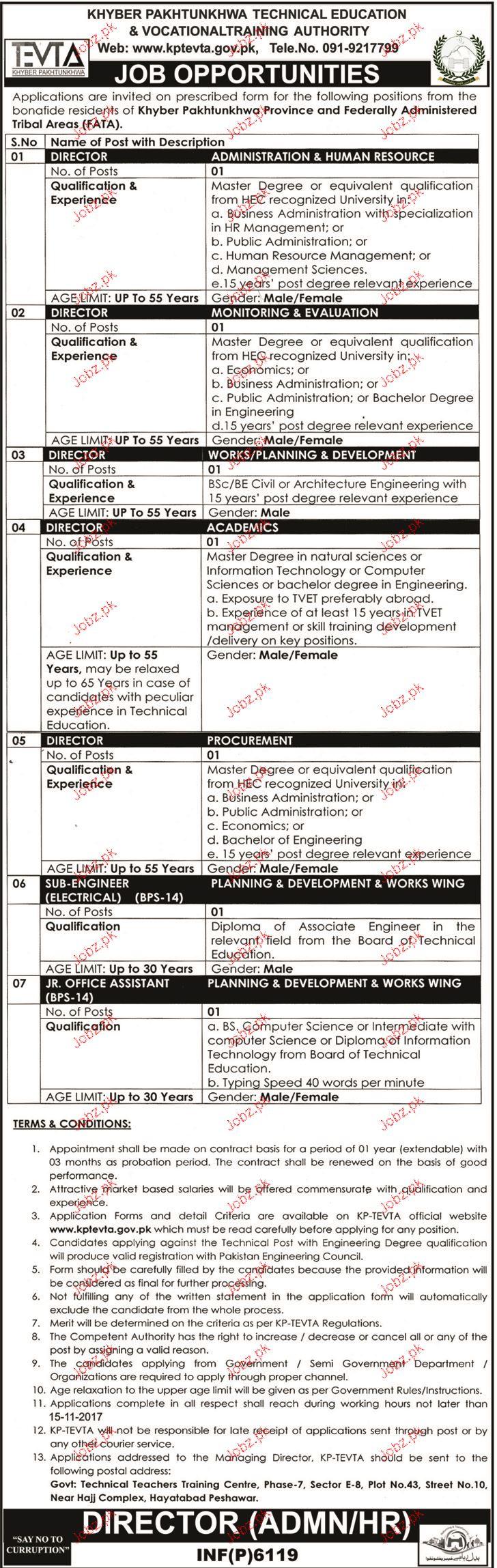 KPK Technical Education and Vocational Authority KTEVTA Jobs