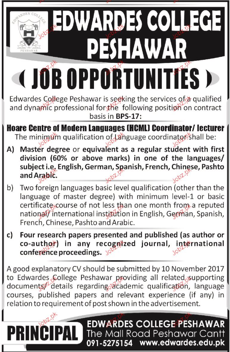 Edwardes College Peshawar Jobs