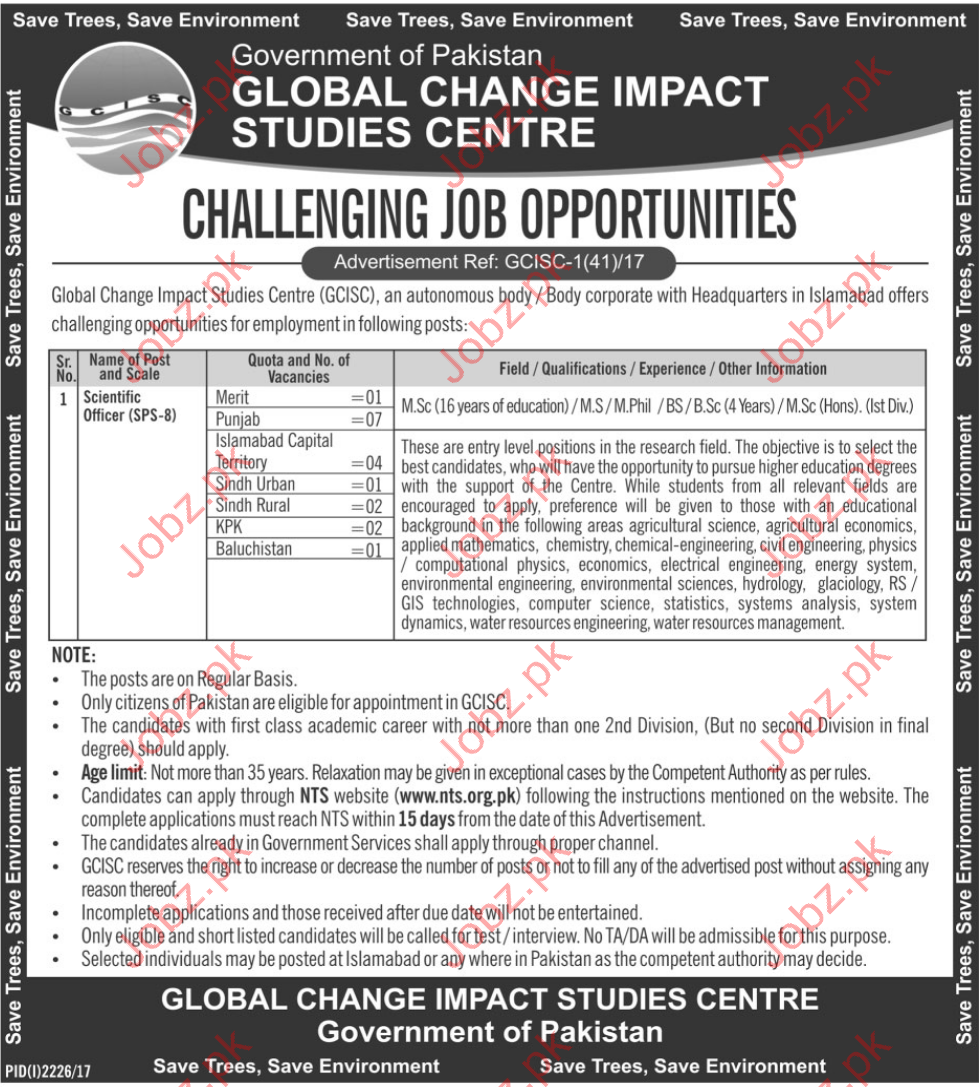 GCISC Jobs 2017 Global Change Impact Studies Center