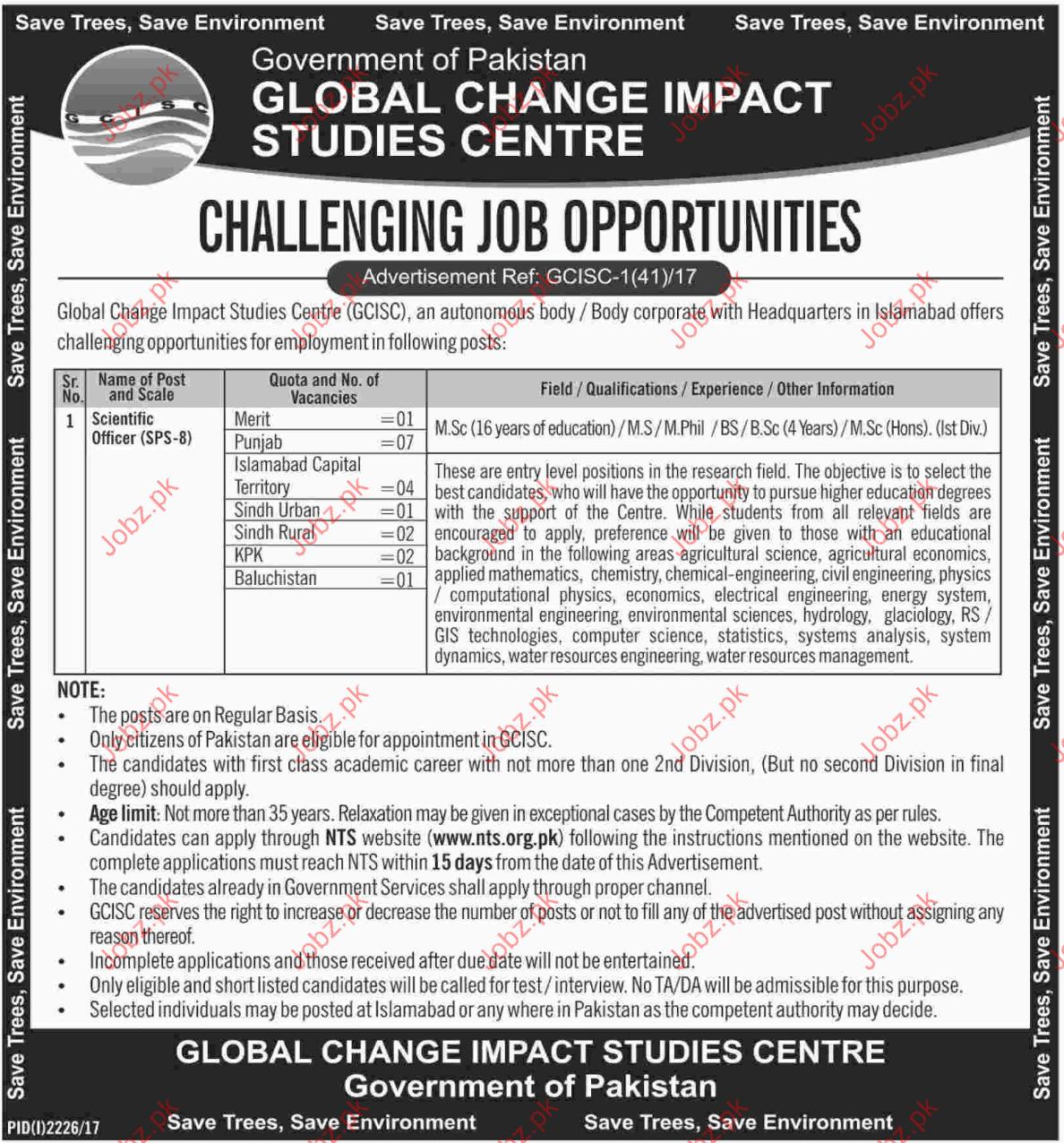 Global Change Impact Studies Center Jobs Opportunity