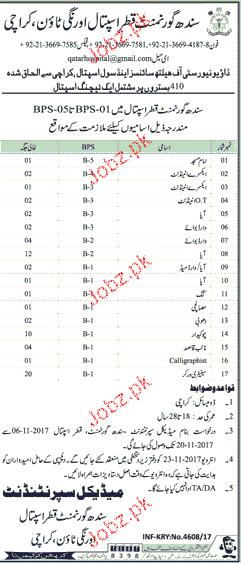 Sindh Government Qatar Hospital Jobs