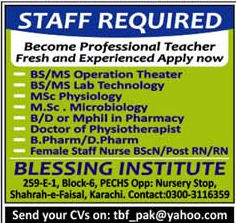 Medical Staff wanted in Karachi 2017