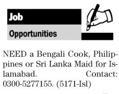 Cook Jobs in Islamabad 2017