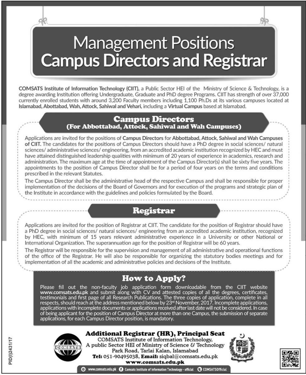 COMSATS Institute of Information Technology CIIT Jobs