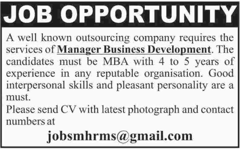 Manger Business Development Jobs Opportunity 2017