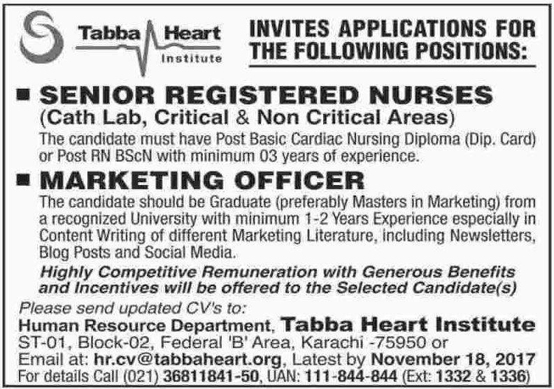 Tabba Heart Institute THI Karachi Jobs
