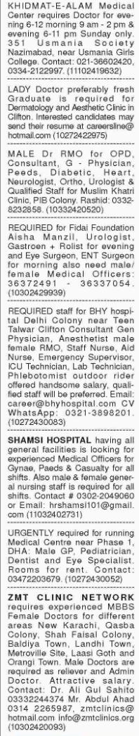 Medical Staff wanted at Karachi 2017