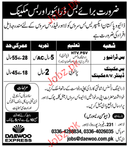 Daewoo Express Private Limited Jobs