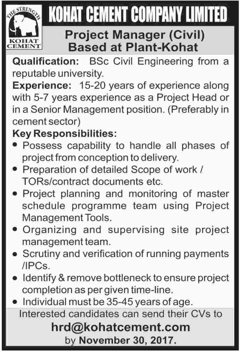Kohat Cement Company Limited Jobs 2017