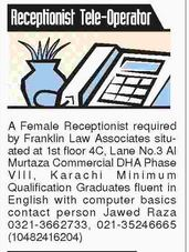 Receptionist and Call Operator Job Opportunity