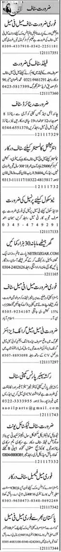 Telemarketing,Office staff and Graphic Designer & Other Jobs