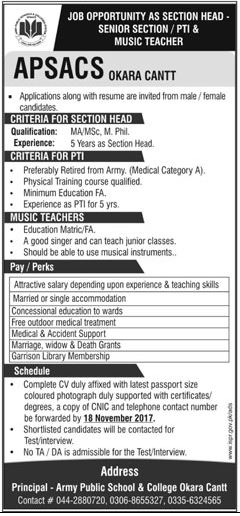Section Head, PTI and Music Teacher Job Opportunity