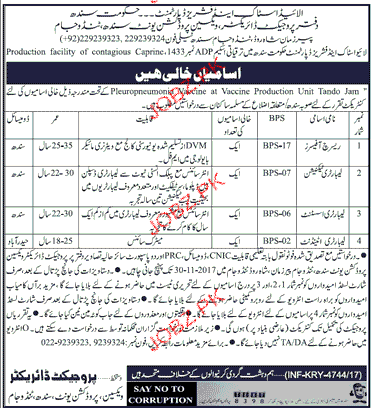 Research Officers, Laboratory Technicians  Job Opportunity