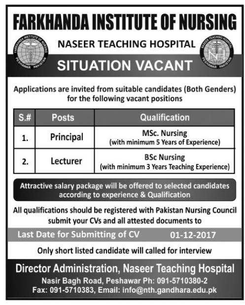 Farkhanda Institute of Nursing Naseer Teaching Hospital Jobs