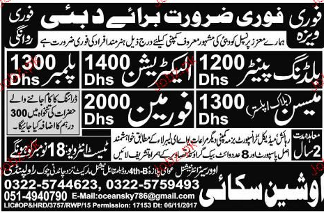 Building Painters, Plumbers, Electricians and Labors Wanted