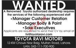 Manager Customer Relations, Manager Boyd and Paint Wanted