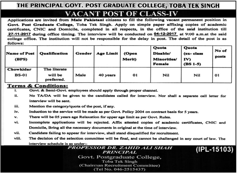 Govt Postgraduate College Jobs Toba Tek Singh