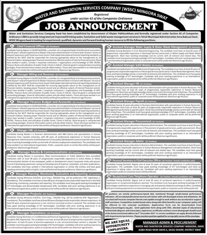 Water And Sanitation Services Company Jobs 2017