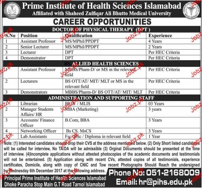 Prime Institute of Health Science Islamabad Jobs