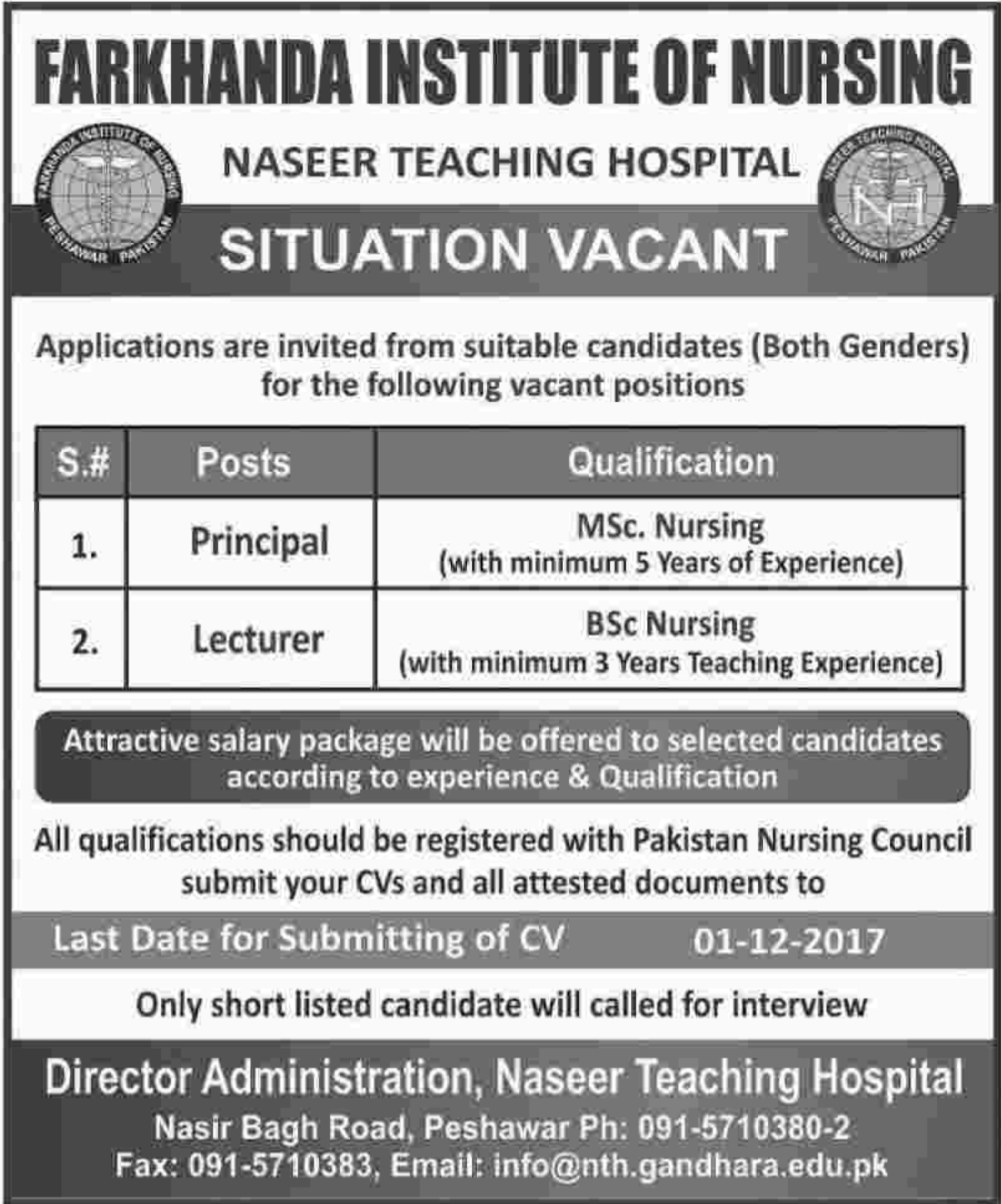 Farkhanda Institute of Nursing Peshawar Jobs 2017