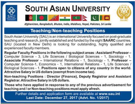 SAU Jobs South Asian University Teaching Staff 2017
