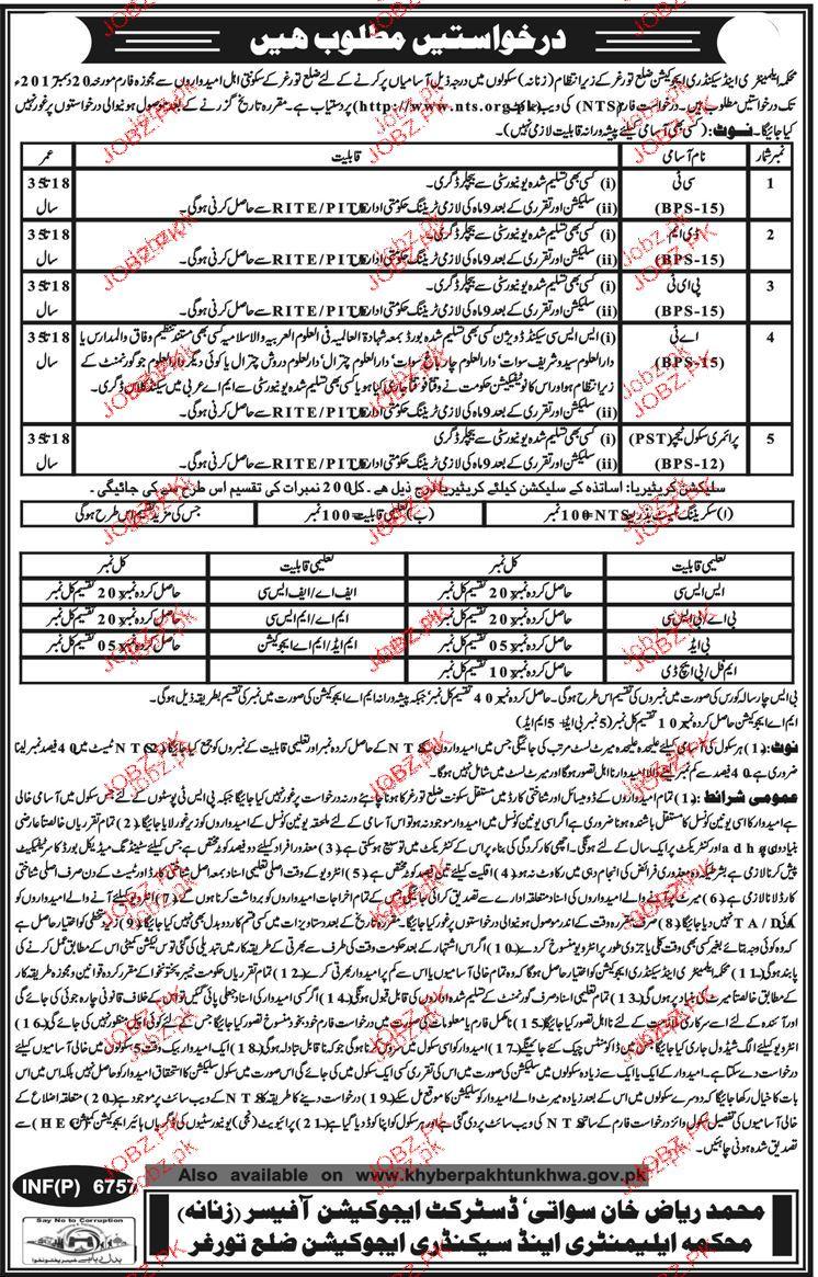 Teachers Job in Education Department in District Turghar