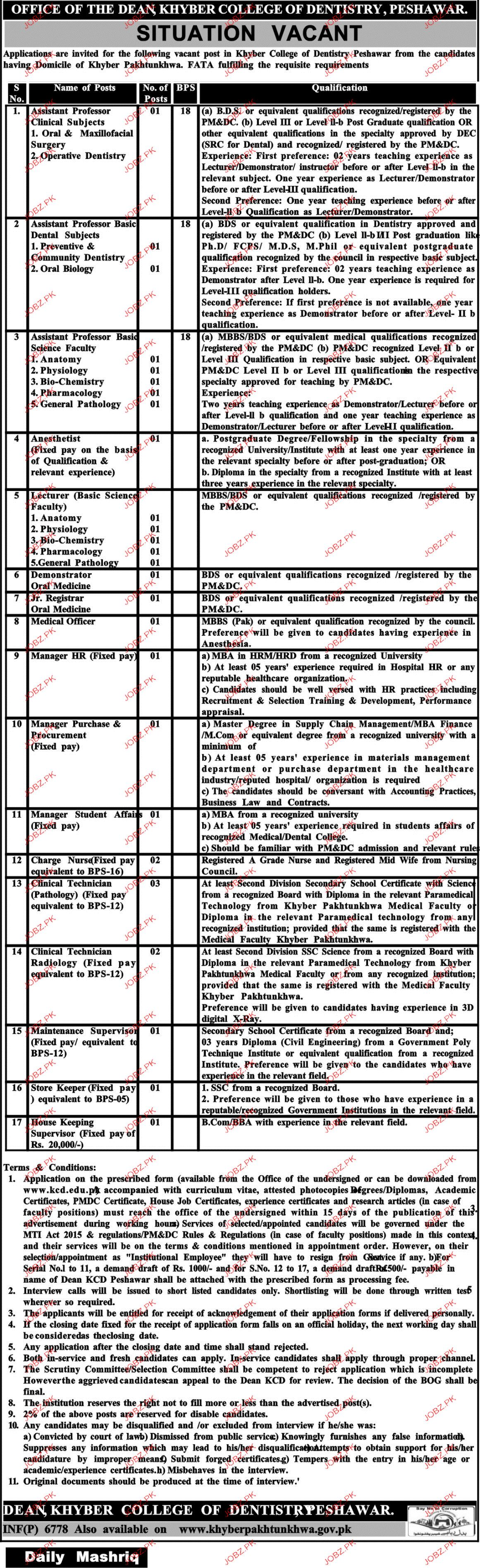 Khyber College of Dentistry Peshawar Jobs