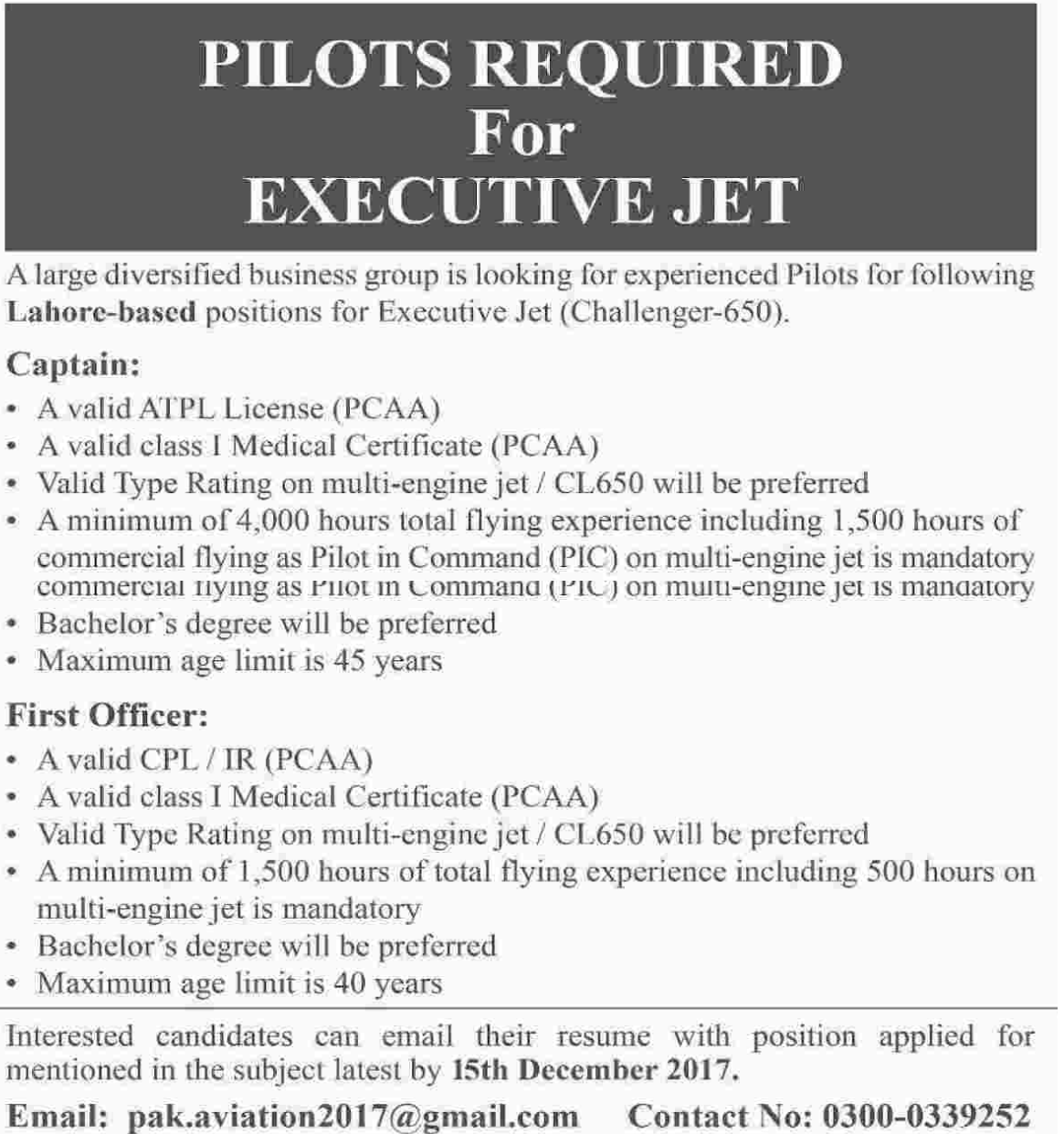 Pilots required for Executive Jet in Lahore 2017